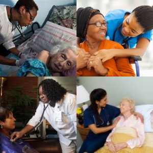 collage image of healthcare professionals taking care of seniors